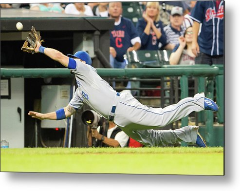 American League Baseball Metal Print featuring the photograph Mike Moustakas And Lonnie Chisenhall by Jason Miller