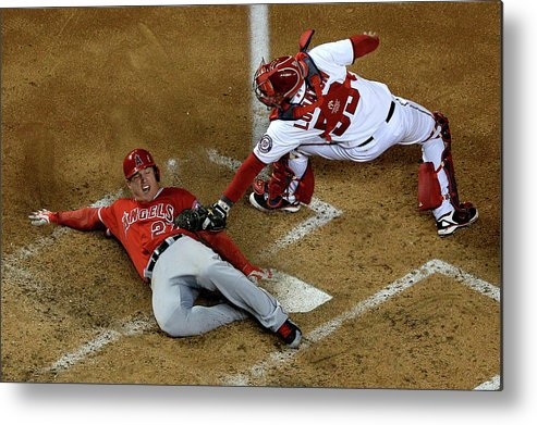 Baseball Catcher Metal Print featuring the photograph Mike Trout by Patrick Smith
