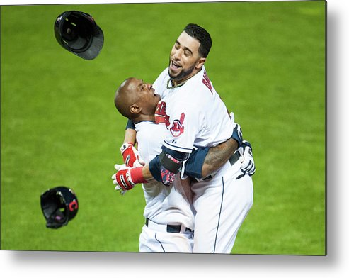 American League Baseball Metal Print featuring the photograph Nyjer Morgan And Mike Aviles by Jason Miller