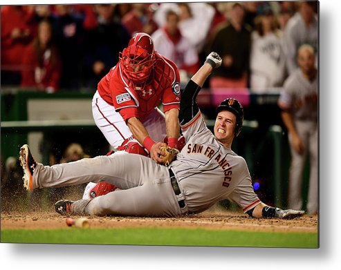 Game Two Metal Print featuring the photograph Pablo Sandoval, Wilson Ramos, And Buster Posey by Patrick Smith