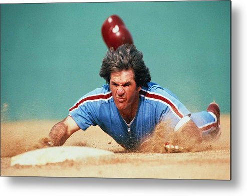 1980-1989 Metal Print featuring the photograph Pete Rose by Ronald C. Modra/sports Imagery