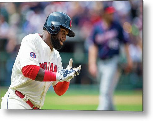 American League Baseball Metal Print featuring the photograph Phil Hughes And Abraham Almonte by Jason Miller