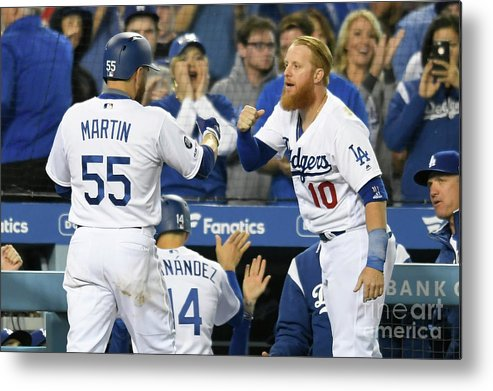 People Metal Print featuring the photograph Russell Martin And Justin Turner by John Mccoy