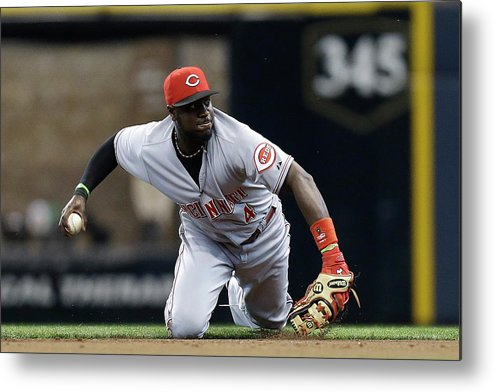 Retirement Metal Print featuring the photograph Scooter Gennett And Brandon Phillips by Mike Mcginnis