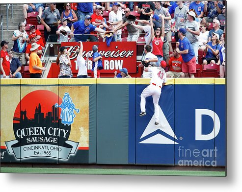 Great American Ball Park Metal Print featuring the photograph Scott Schebler And Jon Jay by Joe Robbins