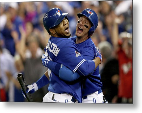 People Metal Print featuring the photograph Troy Tulowitzki And Edwin Encarnacion by Vaughn Ridley