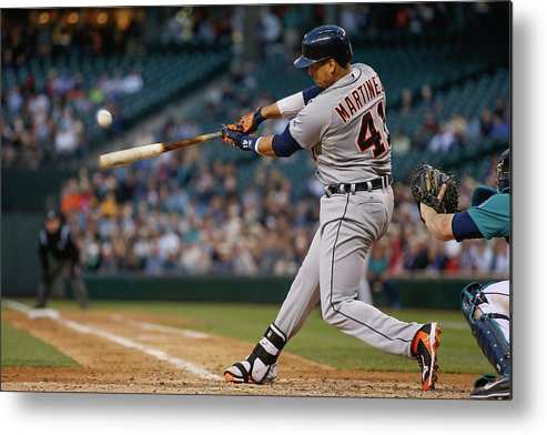 American League Baseball Metal Print featuring the photograph Victor Martinez by Otto Greule Jr