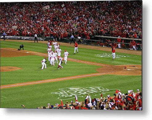 St. Louis Cardinals Metal Print featuring the photograph Yadier Molina And Jason Motte by Dilip Vishwanat