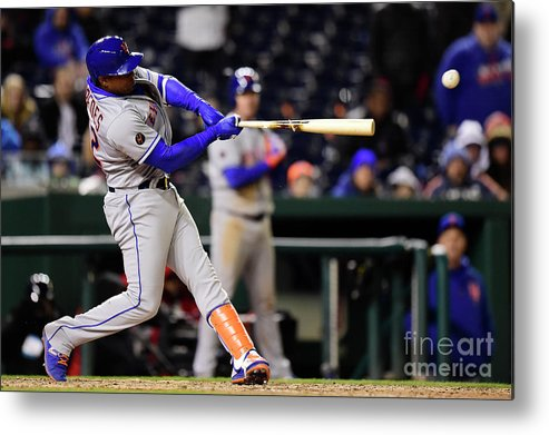 Yoenis Cespedes Metal Print featuring the photograph Yoenis Cespedes And Juan Lagares by Patrick Mcdermott