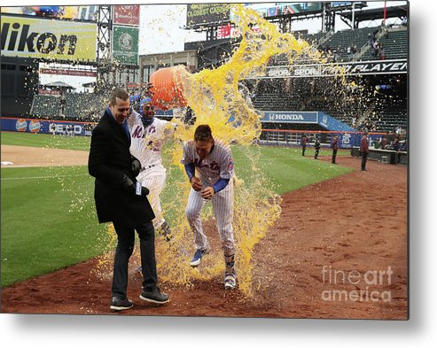 Yoenis Cespedes Metal Print featuring the photograph Yoenis Cespedes And Wilmer Flores by Al Bello