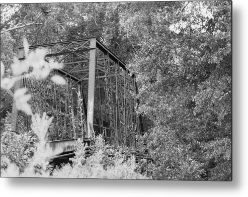 Bridge Metal Print featuring the photograph Bridge In Black And White by Lisa Johnston