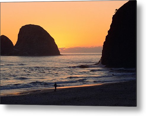 Landscape Metal Print featuring the photograph Figure On Seastack by Lynard Stroud