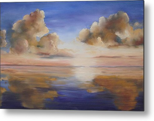 Landscape Metal Print featuring the painting Sunrise On The Rio Grande by Maxine Ouellet