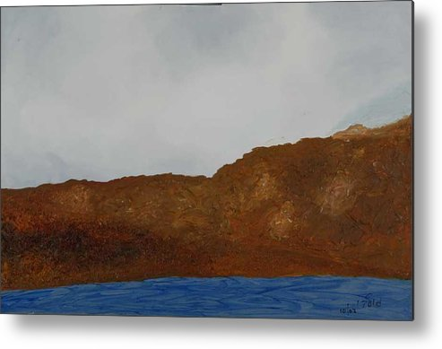 Water Metal Print featuring the painting Water Mountain And Sky  by Harris Gulko