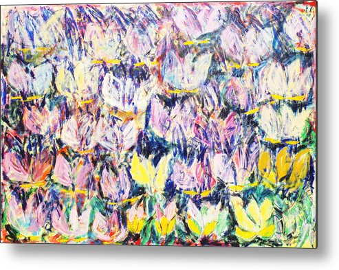 Abstract Flowers Tulips White Pink Yellow Green Blue Metal Print featuring the painting Wild Tulips by Joan De Bot
