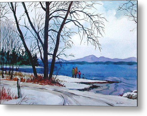 Winter Metal Print featuring the painting Winter At The Lake by Faye Ziegler