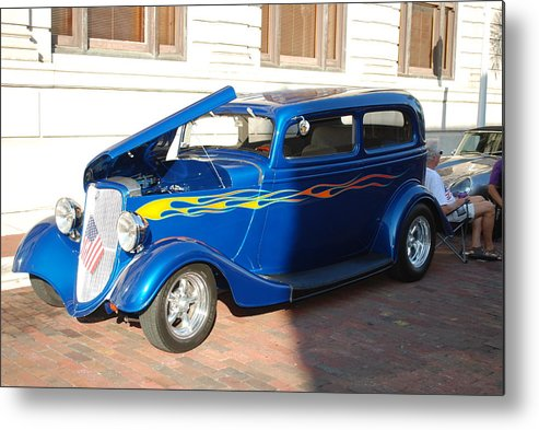 Downtown Ft.myers Fl. Metal Print featuring the photograph Classic Custom Car by Robert Floyd