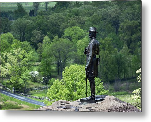 Adams County Metal Print featuring the photograph General Warren At Little Round Top by John Greim