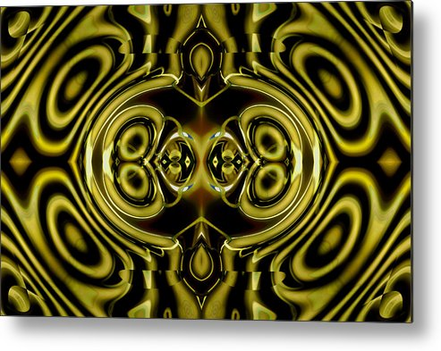 Abstract Metal Print featuring the digital art Mambo In Gold And Red by William Durfey