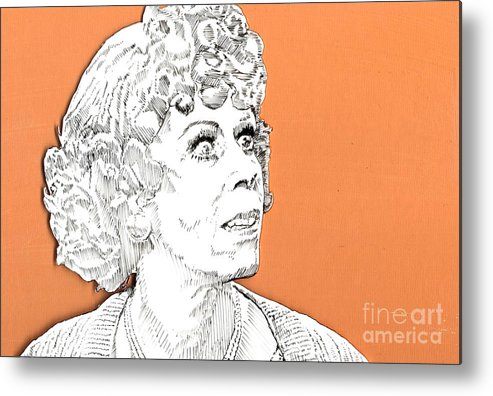 Carol Metal Print featuring the mixed media momma on Orange by Jason Tricktop Matthews