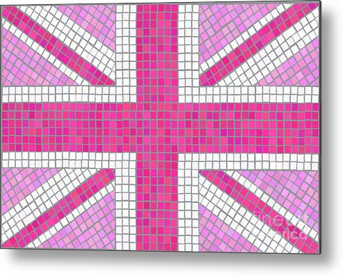 Background Metal Print featuring the digital art Union Jack Pink by Jane Rix