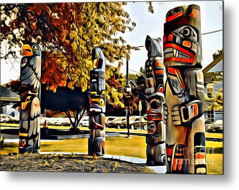 Totem Pole Metal Print featuring the photograph V.i. 0029 by Charles Cunningham
