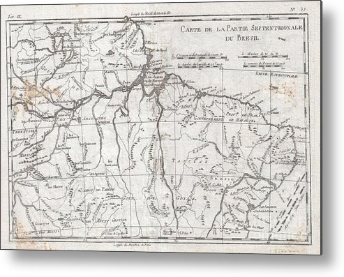 A Fine Example Of Rigobert Bonne And Guilleme Raynal's 1780 Map Of Northern Brazil. This Detailed Map Features The Northern Portion Of Brazil From Bahia To Guyana. This Also Includes A Portion Of The Amazon River And Its Adjancet Rainforest Metal Print featuring the photograph 1780 Raynal And Bonne Map Of Northern Brazil by Paul Fearn