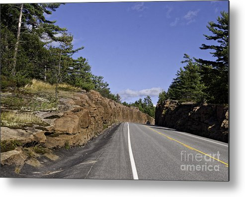 Rock Metal Print featuring the photograph Driving Through A Rock Cut by Les Palenik