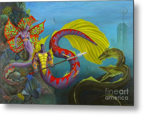 Mermaid Metal Print featuring the painting The Threat by Melissa A Benson