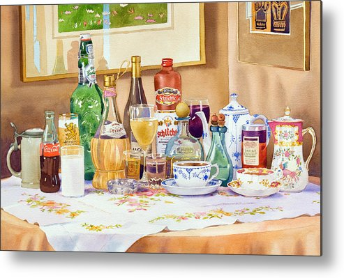 Drinks Metal Print featuring the painting A Collection Of Drinks by Mary Helmreich