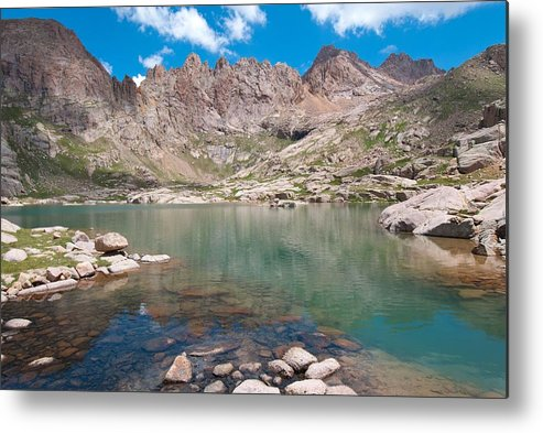 Sunlight Peak Metal Print featuring the photograph Alpine Lake Beneath Sunlight Peak by Cascade Colors