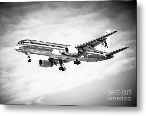 757 Metal Print featuring the photograph Amercian Airlines 757 Airplane In Black And White by Paul Velgos
