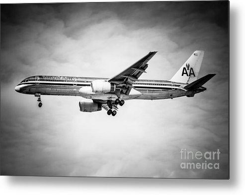757 Metal Print featuring the photograph Amercian Airlines Airplane In Black And White by Paul Velgos
