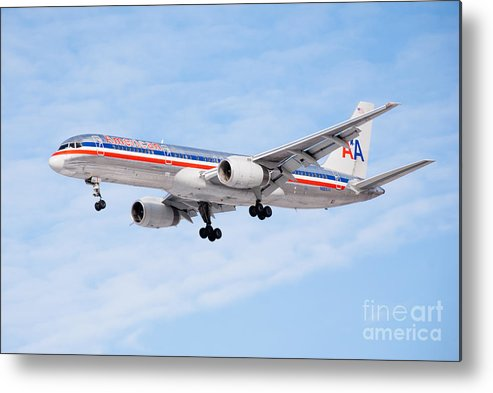 757 Metal Print featuring the photograph Amercian Airlines Boeing 757 Airplane Landing by Paul Velgos
