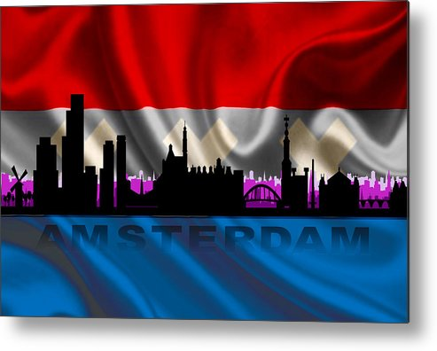 Architecture Metal Print featuring the digital art Amsterdam City by Don Kuing