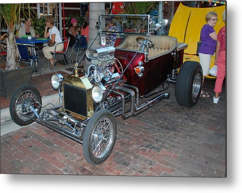 Downtown Ft.myers Fl. Metal Print featuring the photograph Antique Custom Hotrod by Robert Floyd