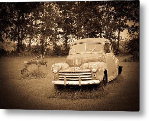 Nostalgia Metal Print featuring the photograph Antique Ford Car Sepia 2 by Douglas Barnett