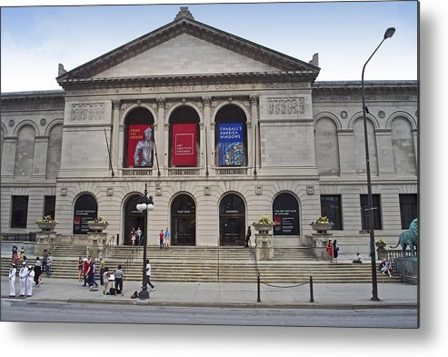 Chicago Metal Print featuring the photograph Art Institute West Facade by Thomas Woolworth