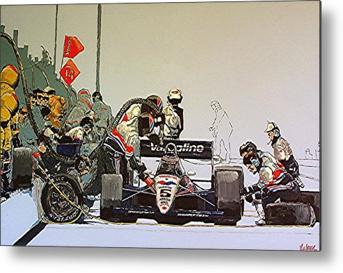 Automobile Racing Metal Print featuring the painting Automobile Racing by Paul Guyer