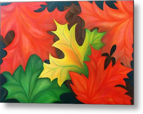 Abstract Metal Print featuring the painting Autumn Leaves by Swapna Rajeev