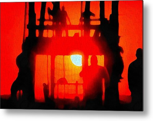 Basic Training Obstacle Course At Sunset Metal Print featuring the painting Basic Training Obstacle Course At Sunset by Dan Sproul