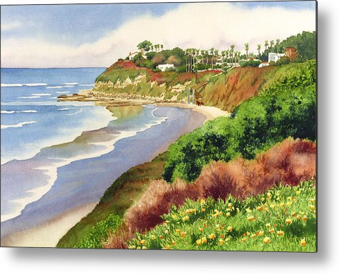 Encinitas Metal Print featuring the painting Beach At Swami's Encinitas by Mary Helmreich