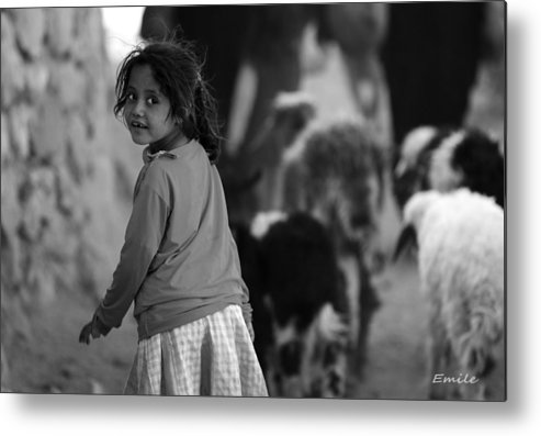 Beduine Girl Metal Print featuring the photograph Beduine Girl by Emile Ibrahim