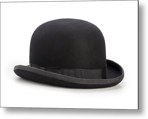 d67f7dd3159 White Background Metal Print featuring the photograph Black Bowler Hat  Isolated On A White Background by