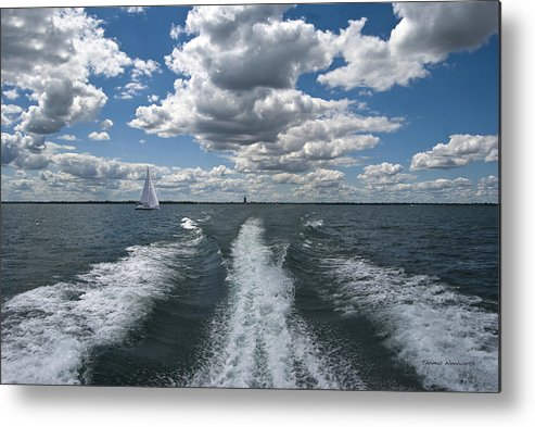 Transportation Metal Print featuring the photograph Boat Wake 01 by Thomas Woolworth