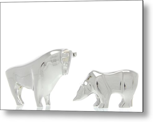 Bull And Bear Figurines, Symbolic Image For The Stock Exchange Metal Print