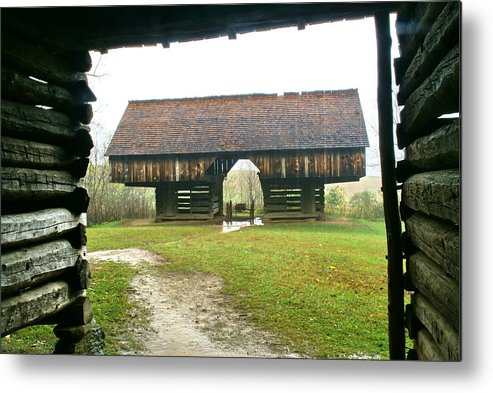 Barn Metal Print featuring the photograph Cantilever Barn In Smokey Mtn Natl Pk by Bj Hodges