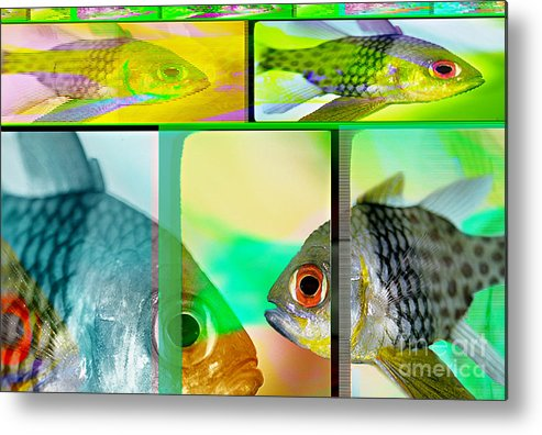 Fish Abstract Metal Print featuring the digital art Cardinalfish Abstract by Wernher Krutein