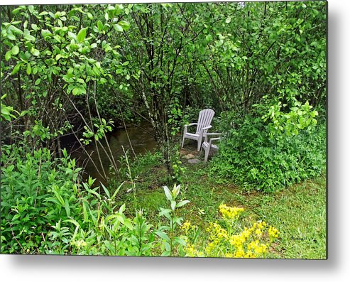 Seasons Metal Print featuring the photograph Chairs By The Creek In Summer by Duane McCullough
