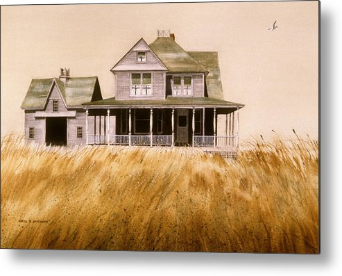 Seagull Metal Print featuring the painting Chatham Derelict by Karol Wyckoff